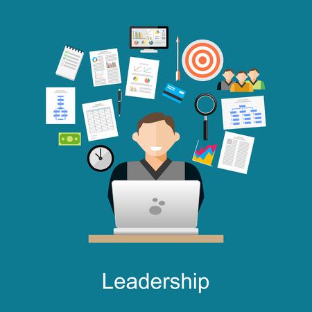 decision: Leadership concept. Manager task illustration. Flat design illustration concepts for management, leader task, businessman. Illustration