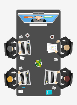 Team video conference concept illustration. Flat design. Video call.