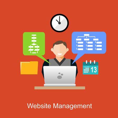 cms: Website management illustration concept. Flat design. Illustration