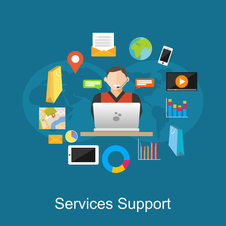 clients: Service support illustration. Flat design illustration concepts for customer support, technical support, consulting, service.