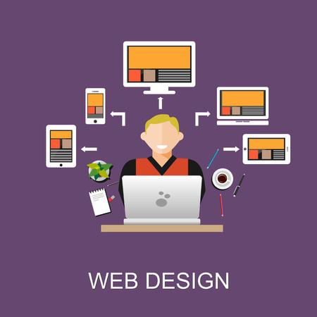 concepteur web: Web design concept illustration. Flat design illustration concepts for web designer, web development, web developer, responsive web design, programming,  programmer.