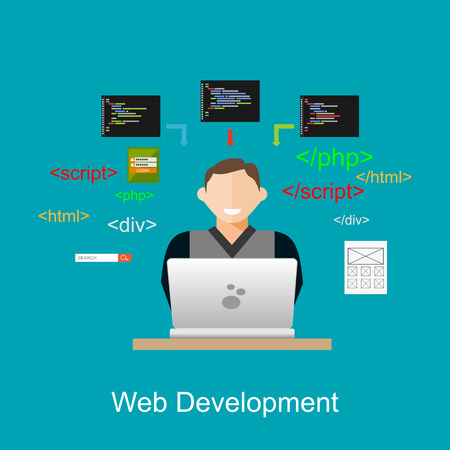 web developer: Web development illustration. Flat design illustration concepts for brainstorming, coding, programming, web developer, web designer.