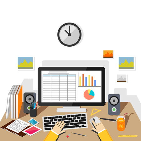 Businessman making report concept illustration. Business analysis.