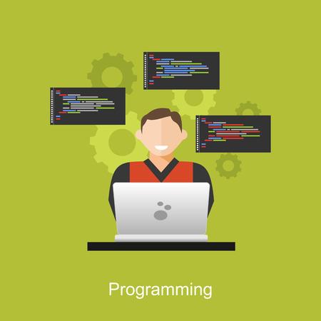deploy: Programming concept illustration. Flat design illustration concepts for analysis, working, brainstorming, coding, programmer, and teamwork.