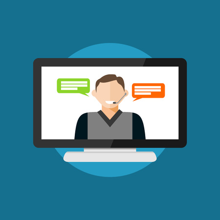 video call: Video conference or video call. Illustration
