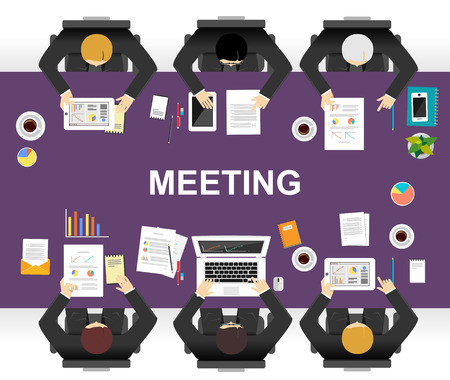 define: Meeting or discussion concept illustration. Flat design. Brainstorming or define a solution concept. Illustration