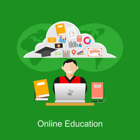 online education: Online education or e-learning concept illustration.