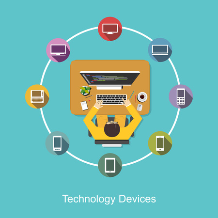 software design: Technology devices communication.