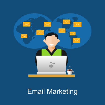 manage: Email marketing illustration. Flat design illustration concepts for business, planning, management, business strategy, business statistics, monitoring, working, investment. Illustration