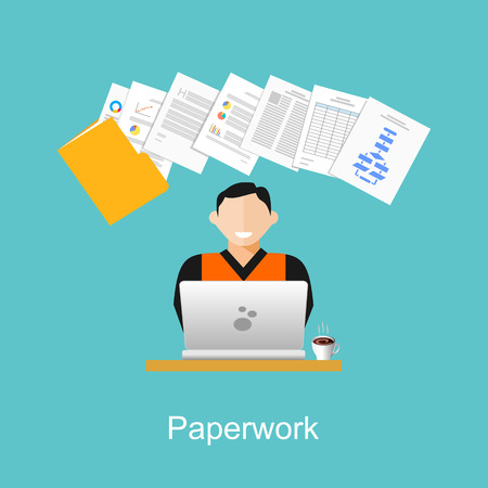 business desk: Paperwork illustration. Stack of paper illustration.