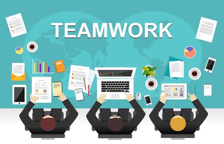 workspace: Teamwork illustration. Office workspace concept. Flat design illustration concepts for teamwork, team, meeting, discussion, working, business, management team, creative team, strategy. Illustration