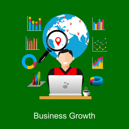 world economy: Business growth or world economy concept illustration.