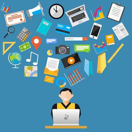 management system: Internet content or web content concept. Illustration
