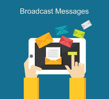 Broadcast messages on gadget concept illustration. Çizim