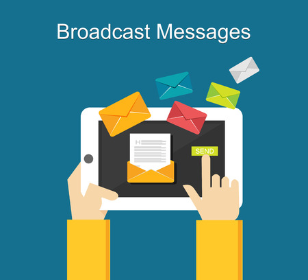 send: Broadcast messages on gadget concept illustration. Illustration