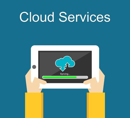 cloud computing services: Cloud services on gadget. Sync with cloud computing.