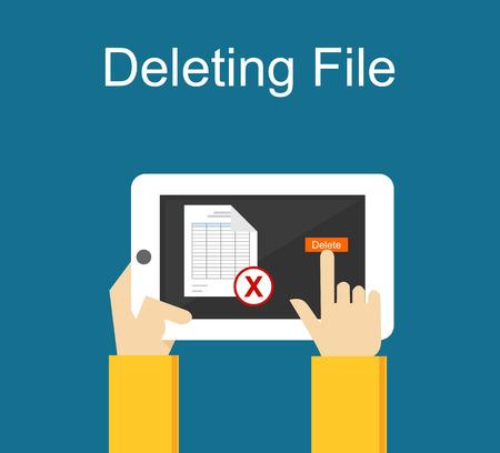 deleting: Deleting file on gadget concept illustration.