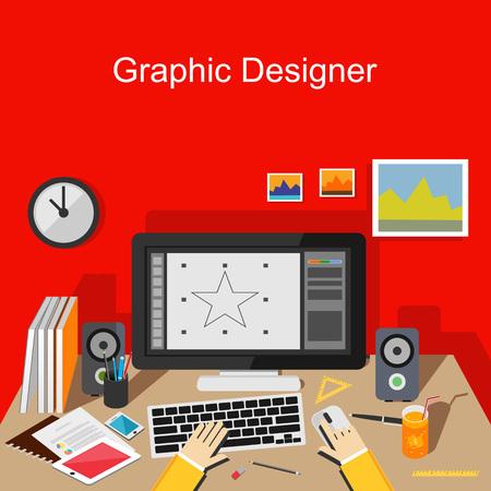 graficos: Diseñador gráfico de trabajo. Vectores