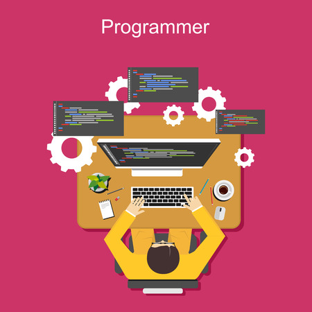 computer programmer: Programmer illustration. Flat design. Flat design illustration concepts for analysis, working, brainstorming, coding, programming, and teamwork. Illustration