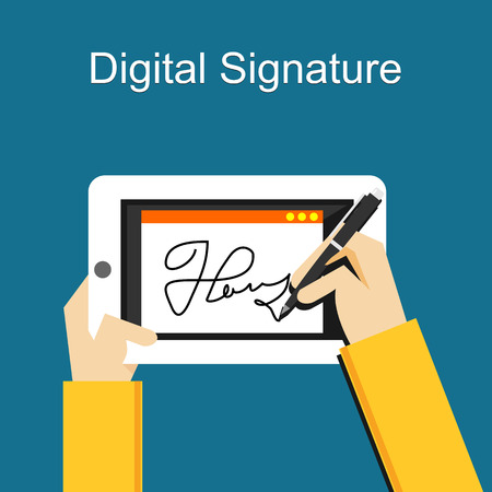 Digital signature on tablet Ilustrace
