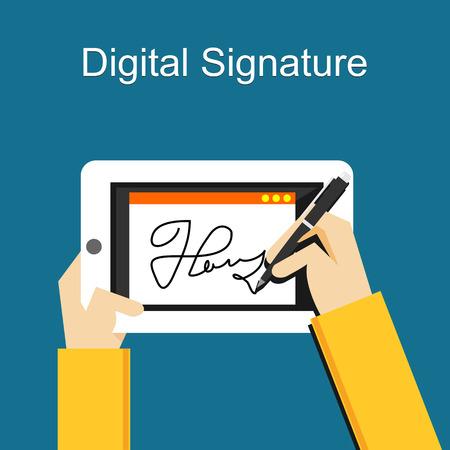 Digital signature on tablet Stock Illustratie