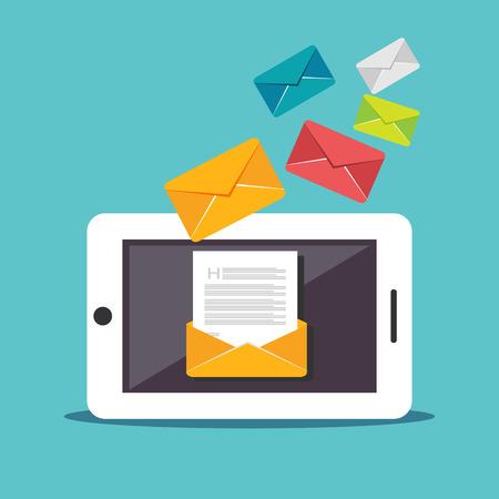 メールのイラスト。デジタル マーケティング。送信または受信電子メールの概念図。フラットなデザイン。E メール マーケティング。メールを放送