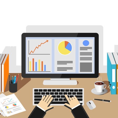 printed work: Businessman working with desktop. Business analysis and evaluation concept illustration. Flat design illustration concepts for business growth, management, business statistics, monitoring, workplace. Illustration