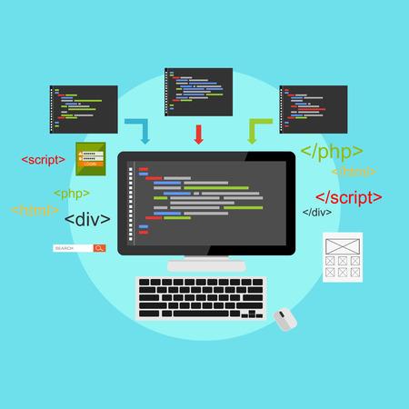 deploy: Web development illustration. Flat design. Concept of coding, programming, development.