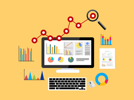 report icon: Business growth analytic. Business background.