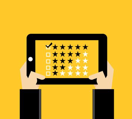 rating: Rating illustration. Flat design. Rating system. Giving feedback concept. Illustration