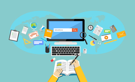 Studying. Flat design illustration of online education or e-learning.