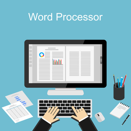 processor: Working with word processor illustration.