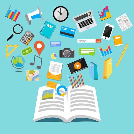 education: Étudier concept. Livre d'ouverture. concept de connaissances. Illustration