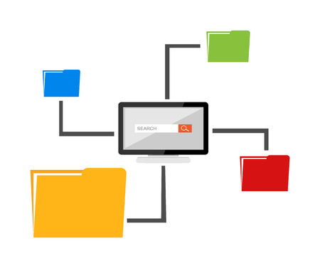 file sharing: File sharing concept. Files management. Illustration