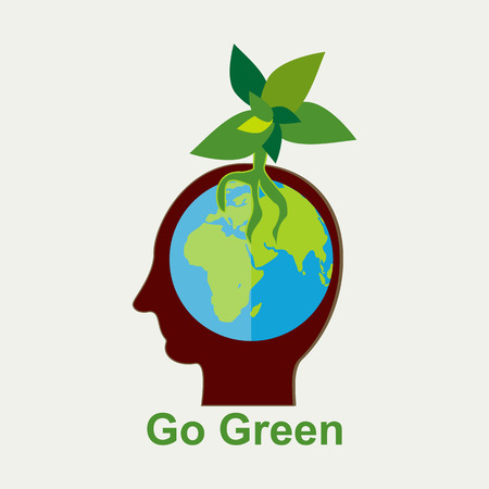 go green concept: Growing plant in human head. Go green concept illustration. Illustration