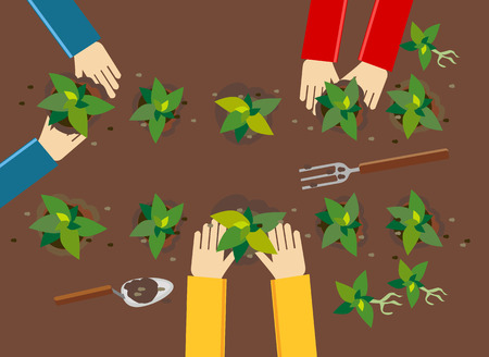 Ilustracja sadzenia. Koncepcja sadzenia. Płaska konstrukcja ilustracja koncepcje pracy, rolnictwa, ogrodnictwa, zbioru, architektonicznego, siewu, pielęgnować, zielone. Ilustracje wektorowe