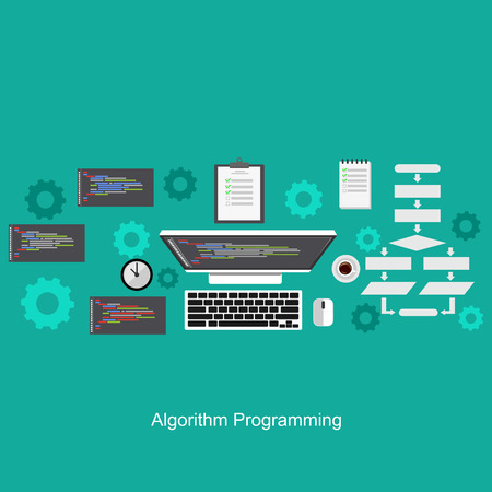 algorithm: Algorithm programming concept. Flat design illustration concepts for analysis, working, brainstorming, coding, programming, and planning.