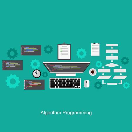Algorithme concept de programmation. Appartement concepts conception d'illustration pour l'analyse, de travail, de réflexion, le codage, la programmation et la planification. Banque d'images - 54531113