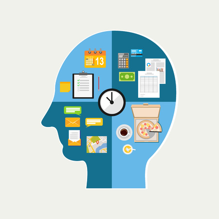 daily life: Human time management. Human thinking of daily life. The functioning of the human body and the brain Illustration