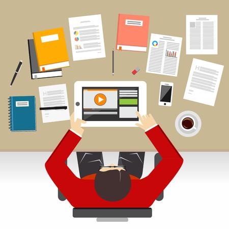 Étudier ou travailler sur le concept de bureau illustration.