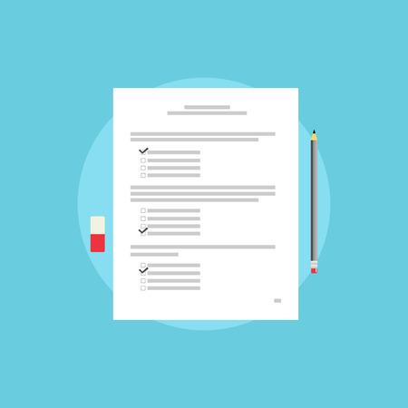 school test: Test paper, exam, or survey concept illustration. School test. School exam.