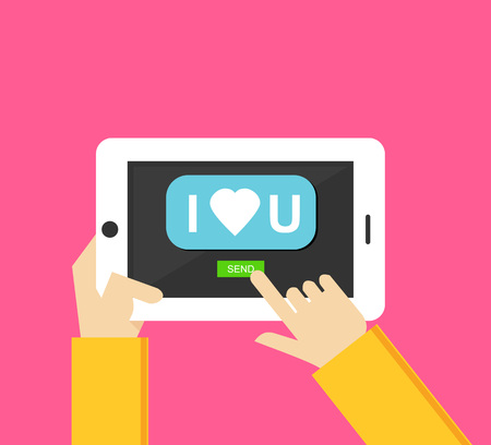broadcast: I love you message on the screen of mobile phone in human hands. Love message. Valentines Day vector illustration