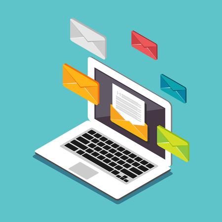 Email illustration. L'envoi ou la réception de courrier électronique concept illustration. Flat 3d isométrique concept illustration. Publicité par e-mail. Vecteurs