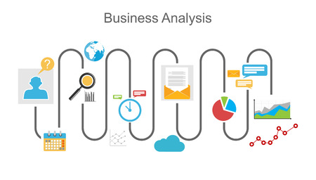Business analysis process concept illustration. Çizim