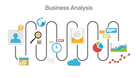 Ilustracja koncepcja procesu analizy biznesowej.
