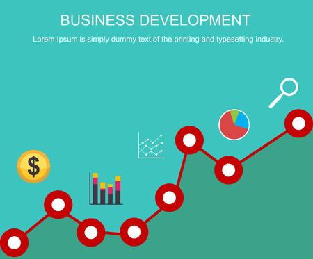 business concepts: Business development concept. Banner design. Flat design illustration concepts for trend analysis, business, management, business strategy, business statistics, business monitoring. Illustration