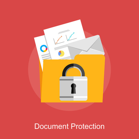 data exchange: Document protection, data protection, or document management concept illustration.