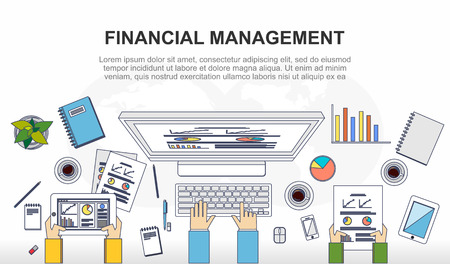 office environment: Financial management, business teamwork, business management concept illustration. Modern line style illustration.