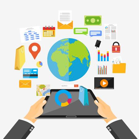 phone system: Mobile technology, internet content and mobile application concept illustration. Flat design.