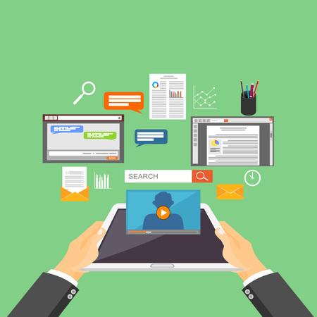 data distribution: Mobile technology, internet content, distribution system concept illustration.
